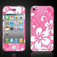 Hibiscus Pink Hawaiian Flower  iPhone 4 4S Vinyl Decal by ItsASkin