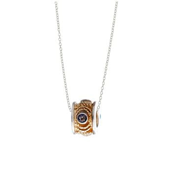 September Iolite Sterling Silver with 14k Gold Vermeil Bead Necklace
