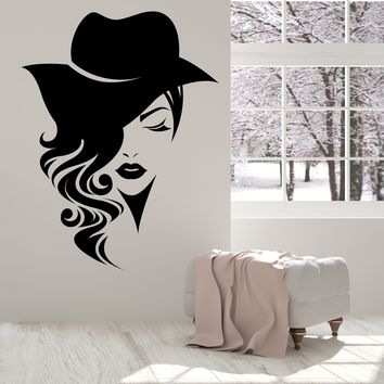 Large Vinyl Decal Wall Sticker Logotype Women Face Long Hair with Hat Decor for Fashion Store or Beauty Salon (n969)