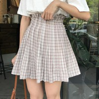 Kawaii Thin Pleated High Waist Plaid Skirt