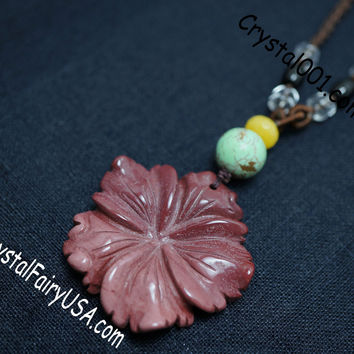 Natural red jasper flowre necklace green turquoise charm 40mm flower necklace bridal necklace wedding necklace