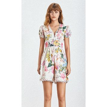 Through the Fields Puff Short Sleeve Lace Floral Pattern V Neck High Waist Loose Romper Playsuit