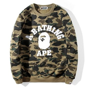 Bape Aape Fashion New Autumn And Winter Camouflage Women Men Long Sleeve Sweater Top Green