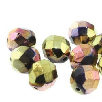FPR06-23980-98544 - Czech Glass Fire Polish Beads, Jet Cali Pink, 6mm | Pkg 1 Strand