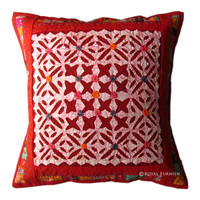 "16"" Indian Handmade Decorative Cutwork & Patchwork Embroidered Appliqued Floral Throw Pillow"