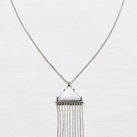 AEO Women's Gemstone & Fringe Pendant Necklace (Silver)