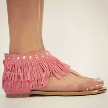 Pink Coral Fringe Ankle Sandals Flat Gold Studded Suede Indian Summer Fashion