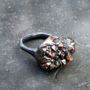 Copper Ring Crystal Cluster Facet Metal by MidwestAlchemy on Etsy