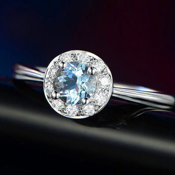 0.55ct Round Cut Aquamarine Engagement ring,VS Diamond wedding band,14K White Gold,Gemstone Promise Bridal Ring,IF Blue,Propose ring,Halo