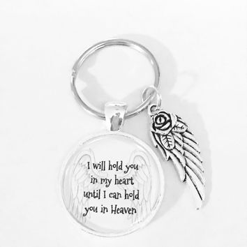 I Will Hold You In My Heart Guardian Angel Wing In Memory Keychain