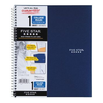 Mead® Five Star® Wirebound Notebook, 1-Subject, College Ruled, 8-1/2