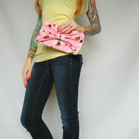 Pink Cupcake and Cherry Fabric Bow-Tie Clutch