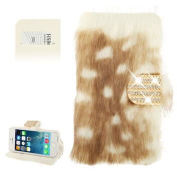 Spots Texture Diamond Encrusted Winter Warm Fur Leather Case with Credit Card Slot & Holder for iPhone 5 & 5s & SE & SE