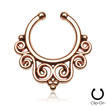 Rose Gold Tribal Swirls Septum Clip-On
