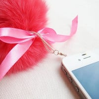 Fancy Large Sharp Pink Fox Fur Iphone Plug Cellphone Charm - Ready to Ship Iphone Accessories