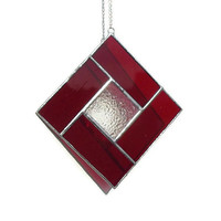 Red Stained Glass Suncatcher, January Garnet Birthstone Suncatcher
