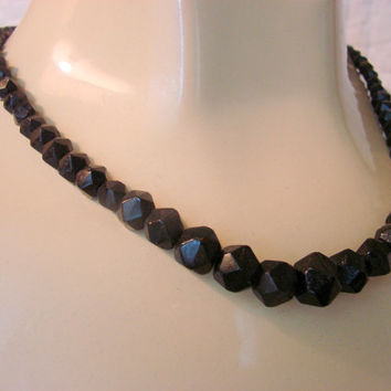 Mourning Black Glass Bead Necklace / Victorian Japanned Tube Clasp / 1800s / Antique / Vintage / Jewelry / Jewellery