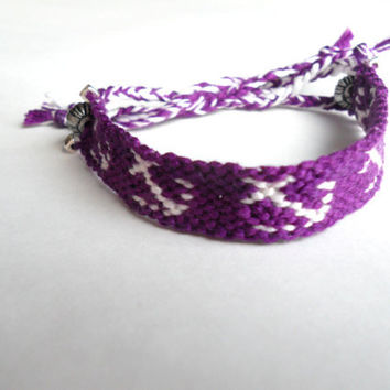 Anchor Handmade Friendship Bracelet // Purple and White with Silver Beads