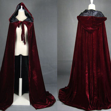 Velvet hooded cloak; cape; forest druid; medieval cape; elven cloak; wizard; witch; long cape
