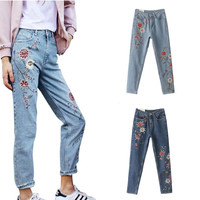 2017 Women's Fashion Denim Flower Embroidery High Waist Jeans Woman Femme Skinny Pants Slim Women Jeans Floral Embroidered Jeans