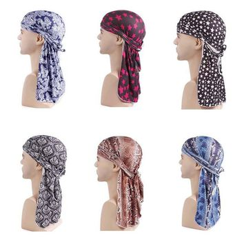 New Luxury Doo Rag Skull Cap Women Men Pattern Durag Bandana Chemo Head Wrap Turban King's Biker Headwear Hair accessories