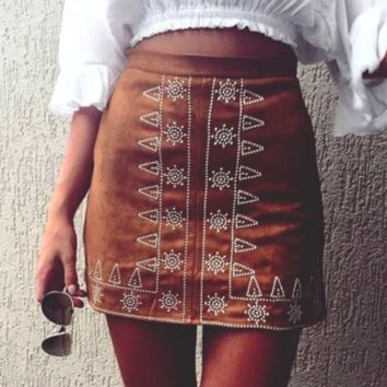 Edgy Embroidery Flower Tight High Waist Skirt
