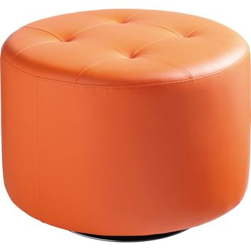 Domani Large Swivel Ottoman Orange Leatherette