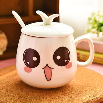 New Arrival Cartoon Personalized Expression Cups And Mugs Ceramic Cute Porcelain Tea Cup Coffee Mug With Lid + Spoon
