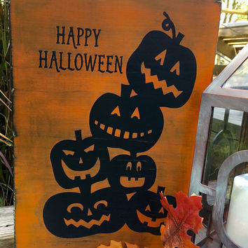 Halloween Decoration,Pumpkin Decor,Jack o Lanterns,Halloween Signs,Happy Halloween Sign,Wood Pumpkins,Halloween Party Decor,Trick or Treat