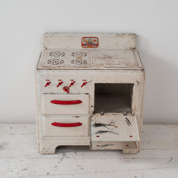 1950s Pretty Maid Toy Stove: Vintage Metal Childrens White Kitchen Appliance, Red Trim Handles Moving Dials