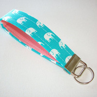 Key FOB / KeyChain / Wristlet  - soft -  turquoise  with White Elephants with gray or coral - coworker gift mothers day under 10