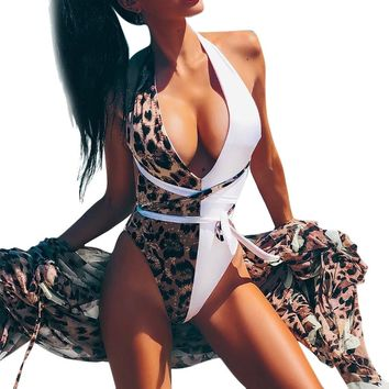 WOMAIL Women One-Piece Leopard Bikini Push-Up Pad Swimwear Bathing Swimsuit Beachwear one-piece swimwear plus size swimwear
