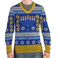 Faux Real Men's Ugly Hanukkah Sweater Medium