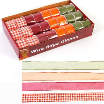 Autumn Checkered Chiffon Wire Edge Ribbon - CASE OF 48