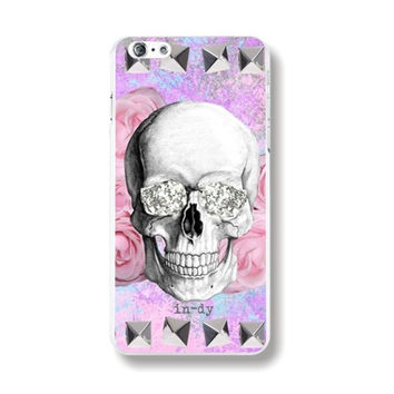 Individualistic Skull Flower Floral Pattern Pink Purple Rigid Plastic Phone Case Cover Shell for iPhone 6 6s 4.7'' Inch