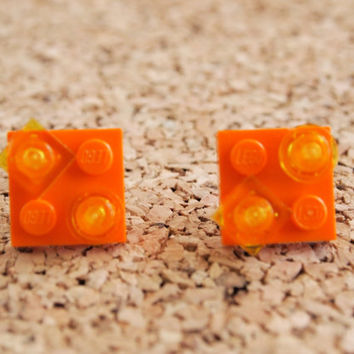 Orange Lego Studs - unique upcycled earrings geekery jewelry orange yellow square brick FREE shipping to USA