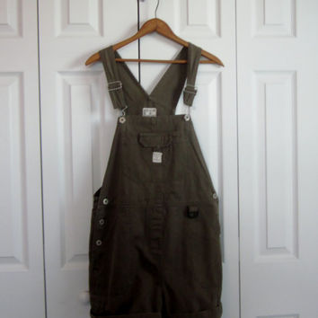 Vintage Overall Shorts Khaki Green Shortalls Womens Size Medium Dungaree Shorts BUM Bib Overall 90s Grunge Indie