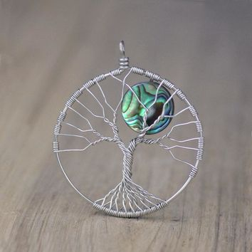 Tree of life abolone shell moon branch wiring pendant necklace Free US Shipping handmade Anni Designs