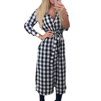 Explosion Women Plaid Dress Casual Turn-down Collar Long Sleeve Plaid Midi Dress Autumn Winter Lady Maxi Long Vestidos GV438