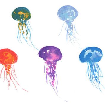 Jelly Fish Watercolor Clip Arts for Scrapbooking Digital Files