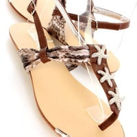 Brown Star Fish Thong T-strap Slingback Sandals