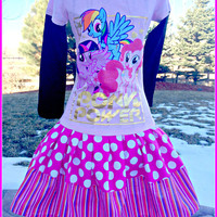 RTS girls My Little Pony rainbow dash rarity Pinkie Pie twirl party Dress layers of ruffle size size 12/14