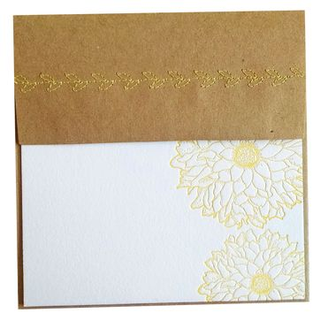 Yellow Letterpress Dahlia Stationery Notes with Sewn Envelope - pack of 5