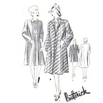 1930's Butterick Sewing Pattern - Ladies Swagger Coat - Size 15 - Bust 33 - 2 Styles Lengths - Cut and Unmarked Pattern Pieces - Wardrobe