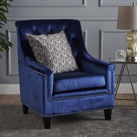 Jacey Tufted Back New Velvet Club Chair