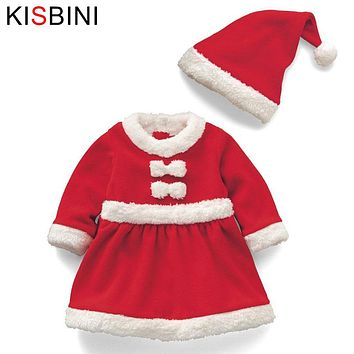 KISBINI Christmas Baby Girls Dress Clothes Hat New Year Costume Fashion Santa Claus Baby Clothes Newborn Girls Baby Boy Clothes