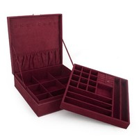 "Aspire Lint Jewelry Box / Jewelry Organizer, Two-layer, 10"" x 10"" x 3"", Gift Idea - DarkRed"