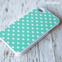 iphone case - mint polka hearts