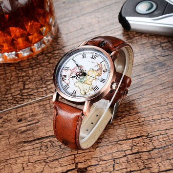 Cool World Map Pattern PU Leather Strap Wristwatch