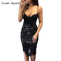 Simplee Apparel Sexy v neck black lace dress Women elegant evening party bodycon summer dress 2016 backless short club vestidos